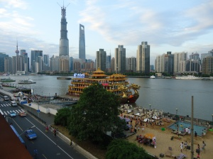 The view from the rooftop bar - Lujiazui, the Bund, and the beach.