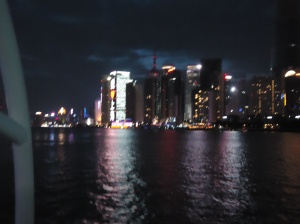 Bright lights, big city - the Puxi and Pudong sides of the Huangpu River light up each night with whole sides of buildings turning into massive screens displaying images.