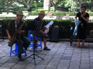 Karaoke is the thing to do here in China, whether it is in a KTV bar or just in the middle of the park.  This group played and sang for the entirety of my one hour walk throughout the park.
