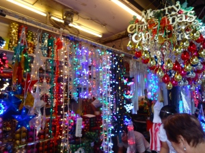One of the many Christmas ornament market stalls that can be found on the streets of Binondo.  This is where the DHL encounter happened.