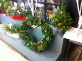 Christmas wreathes.  Saw these before I spent a whole bunch of money on random ornaments at Tesco and was so tempted to buy them, but then realized some amount of self-restraint was a good idea.