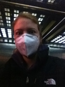 This was me on Friday.  I had so far refused to don the mask but when the particulate matter was above a measurable amount, it seemed time to suck it up and put this bad boy on.