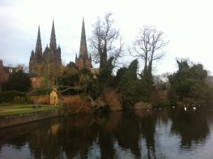 "The catehdral, and its three spires, can be seen around town in Lichfield.  It has resulted in the local shop owners oh-so-creatively naming all their stores the ""Three Spires"" [fill in the blank] as a subtle nod to the town's most famous landmark."