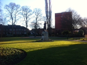 There he is - Edward Smith, the captain of the Titanic.  His statue stands in Beacon Park in Lichfield.